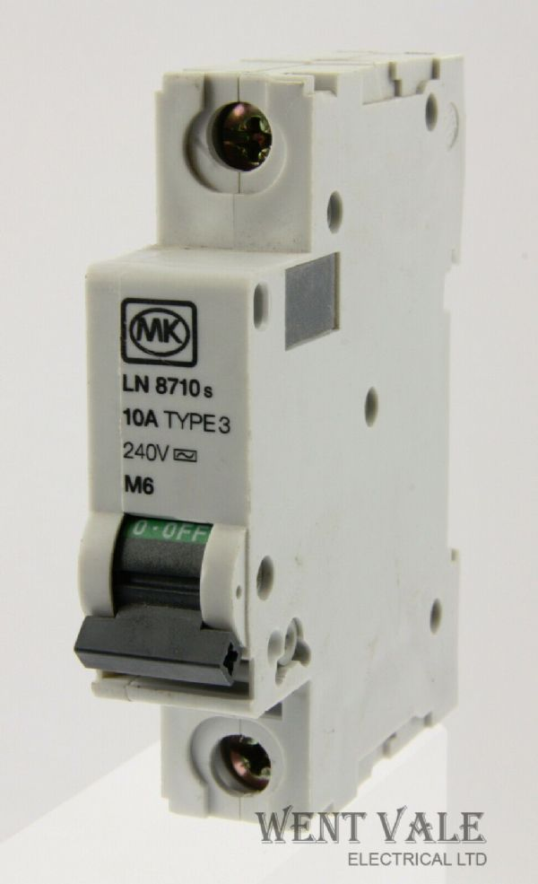 MK Sentry - LN8710s - 10a Type 3 Single Pole MCB Used
